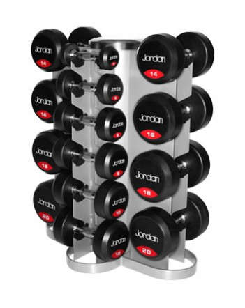 Jordan Vertical Rack with Rubber Dumbbells 2-20kg solid ends